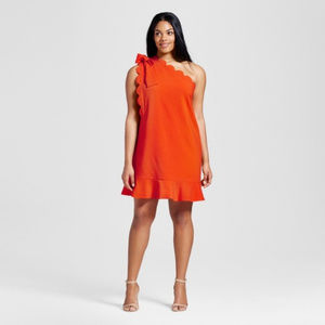 NWOT Orange One Shoulder Dress Bow Scallop